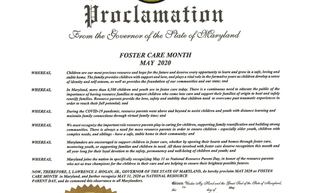 May is Foster Care Month in Maryland!