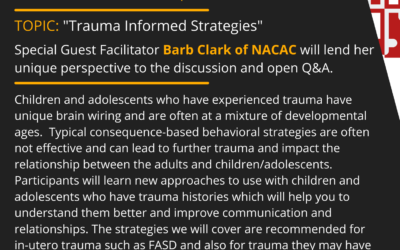 First Tuesday 05/04/2021: Trauma Informed Strategies with Barb Clark of NACAC