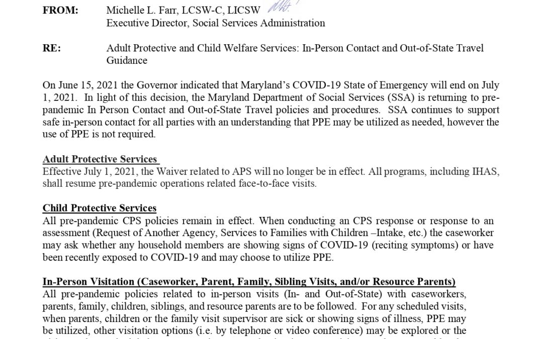 MD DHS – Adult Protective and Child Welfare Services- In-Person Contact and Out-of-State Travel Guidance