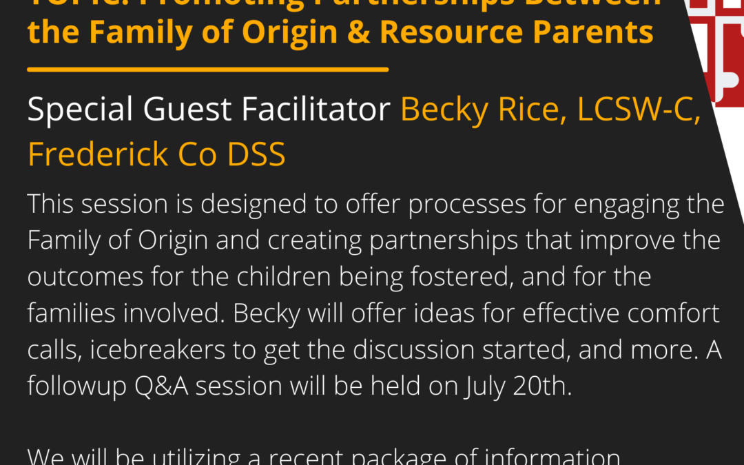 First Tuesday 7/6/21: Promoting Partnerships Between the Family of Origin & Resource Parents